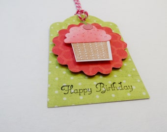 Happy Birthday Tags, Birthday Tag, Cupcake Tag, Gift Tag