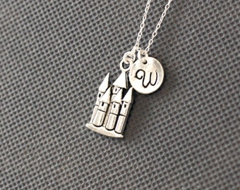 Castle Initail Necklace. Personalized charm Jewelry. gift for friend sister mom her. No22