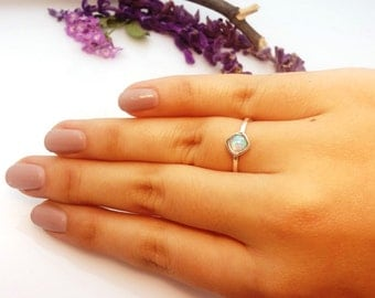 Opal ring. Silver opal ring. Small opal ring. Fine silver rings. Tiny opal ring. Dainty opal ring. Stackable rings. Simple opal ring. silver