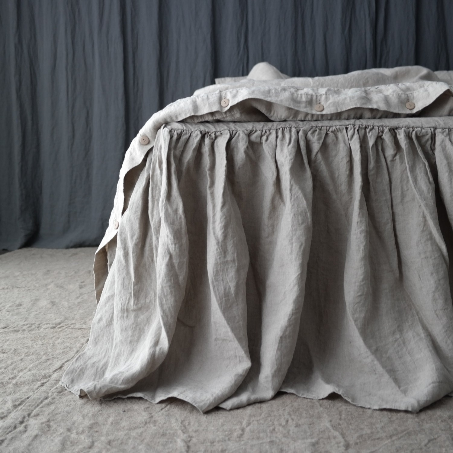 Grey Linen King Bed Skirt