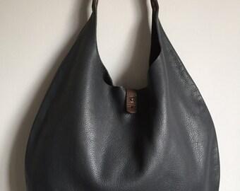 Large grey leather shopper, grey tote, grey shopper, gray tote, gray leather bag, grey shoulder bag, gray purse, laptop bag, diaper bag