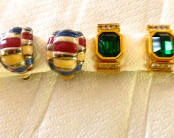 Two Vintage Pairs of Clip On Earrings Circa 1980s