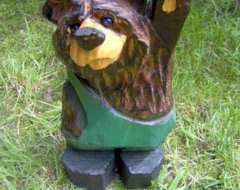 Chainsaw Carved Wood Carved Bear in Overalls