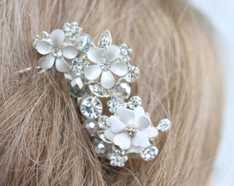 Flower and Rhinestone Bridal Comb/ Hair Jewelry
