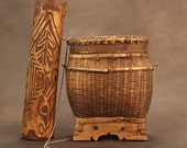Asmat Tribe Blowhorn, together with a Dyak Container