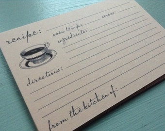 vintage inspired flat recipe cards, vintage/retro coffee cup and saucer, set of 12, 4x6