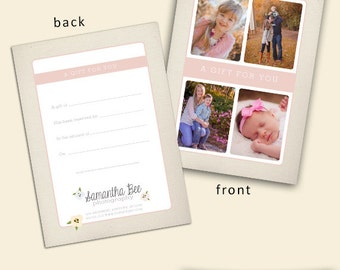 Floral Gift Certificate Template - Photography Gift Certificate - Photography Template - Photoshop Template - Instant Download