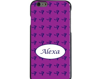 Hard Snap-On Case for Apple 5 5S SE 6 6S 7 Plus - CUSTOM Monogram - Any Colors - Purple Blue White Oval Name