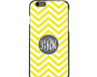 Hard Snap-On Case for Apple 5 5S SE 6 6S 7 Plus - CUSTOM Monogram - Any Colors - Yellow White Grey Chevron Circle