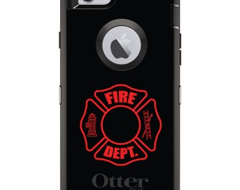 Custom OtterBox Defender Case for Apple iPhone 6 6S 7 8 PLUS X 10 - Personalized Monogram - Red Fire Department