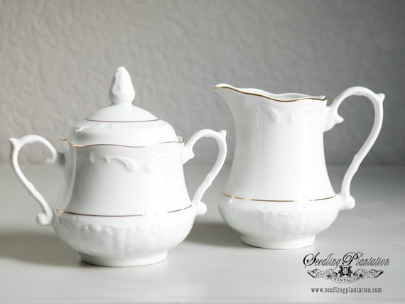 Vintage Porcelain Cream and Sugar Bowl-Gold and White, Set, Coffee, Tea, French Country, Shabby Chic, Farmhouse, Antique
