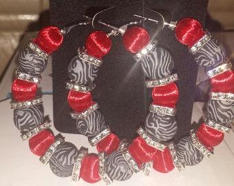 Badketball wives inspired red and black zebra print earrings