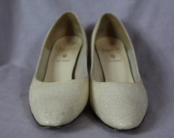 60s white glitter heels