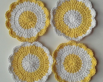 Flower Scubbies-Yellow/White-Set of 4-FREE SHIPPING
