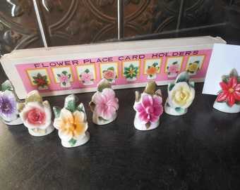 Pretty Vintage Flower Place Card Holders...Commodore Japan...with box
