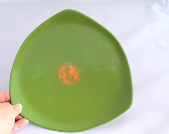 Vintage Ceramic Plate or Dish, Hand Painted, Green, Triangle Shape, Table decor