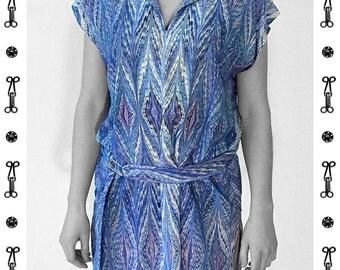 ART DECO Dress / Tunic, with belt, Viscose, Art Deco, Art Nouveau, digital print, 1920, 1930, 1940s, marbling, art déco,