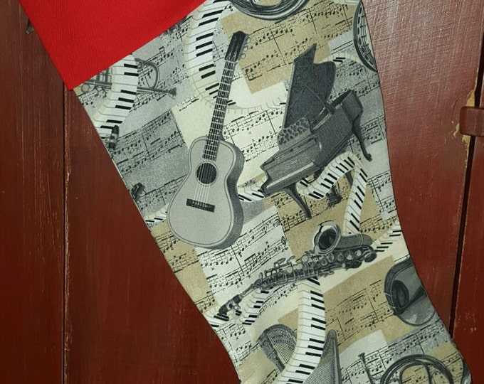 Music Notes & Instruments  Christmas Stocking