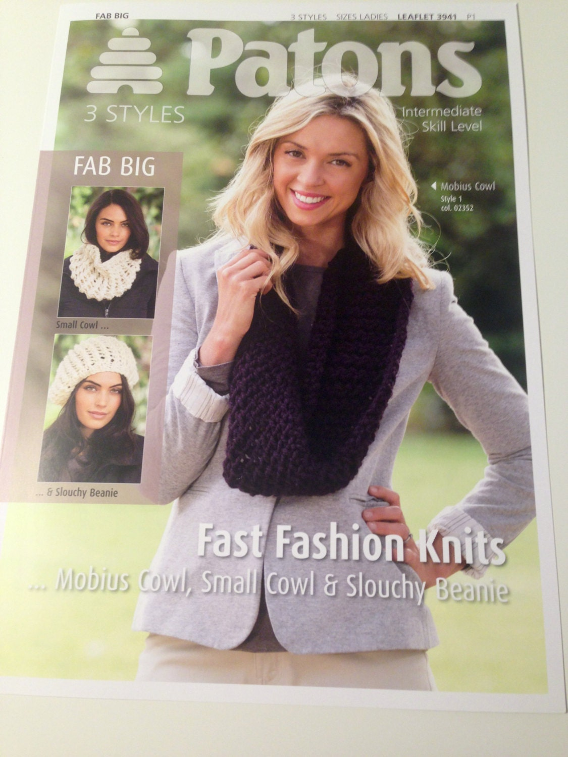 Patons 3941 fab big fast fashion knits cowls beanie leaflet small cowl and slouchy beanie knitting pattern sold by handmadelcreations bankloansurffo Image collections