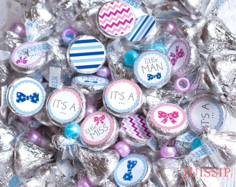 Printed for you custom baby shower hershey kiss labels Hershey kiss stickers It's a Gender Reveal party favors Printed Ready to use Boy Girl
