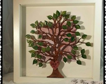 Framed Hand Waxed Tree, Backed With Dictionary Paper