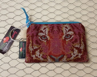 Credit card pouch, Coin purse, Small zipper pouch, Tula Pink, Tigers