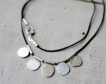 Silver necklace solid, minimalist, silver charm, black silk cord.