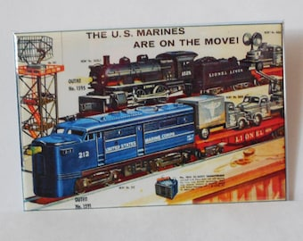 "Vintage LIONEL TRAIN Set US Marines on the move 2"" x 3"" Fridge Magnet art Trains"