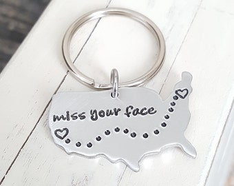 United States Keychains Best Friend Long distance relationship USA with Personalized states Hand stamped keychain going away present