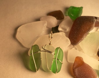 Authentic green and clear sea glass pendant, wire wrapped