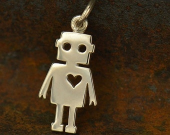 Sterling Silver Cut Out Robot Charm