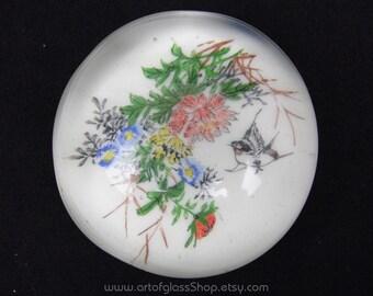 Chinese white glass paperweight
