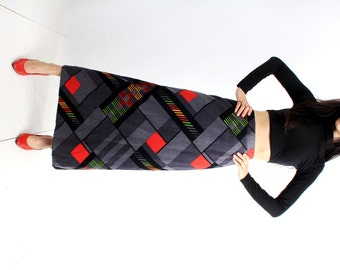 Vintage Art Deco Geometric Colorblock Maxi Long Skirt Size S