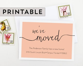 Printable Moving Announcement - Change of Address - New Home - Housewarming Invitation