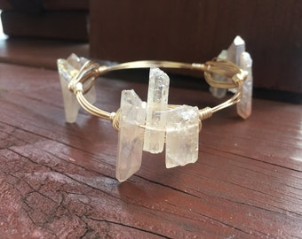 Crystal Clear Quartz Wire Bangle