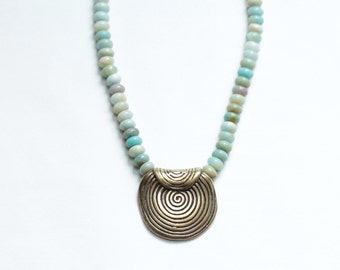 summer jewelry pendant necklace / OOAK statement necklace / chunky pendant gemstone earthy jewelry / amazonite necklace
