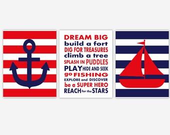 Nautical Baby Boy Nursery Wall Art Navy Blue Red Sailboat Anchor Dream Big Little One Boy Room Prints Baby Nursery Decor Bath Art Boy Decor