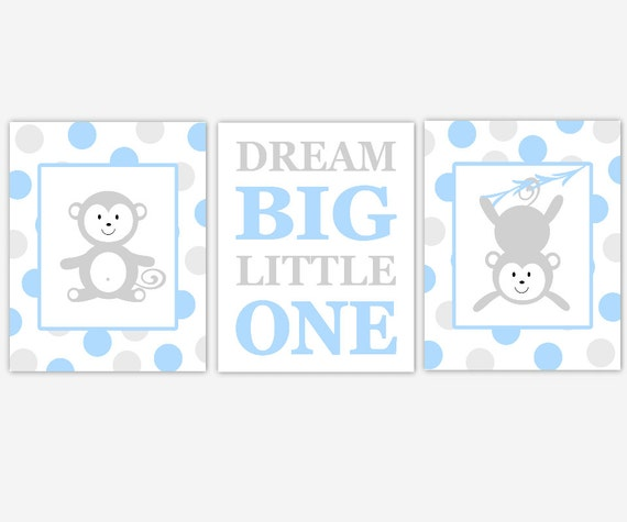 MONKEY Baby Boy Nursery Wall Art Blue Gray Monkey Dream Big Little One