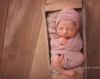 Baby Girl Hat, Newborn Photo Prop, Newborn Hat, Baby Bonnet, Lavender, Baby gift, Children, Knitting, Tweed Bonnet, Newborn Bonnet
