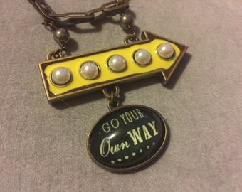 Go Your Own Way Necklace Bronze Chain Pyrite