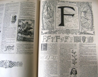 Vintage French illustrated dictionary - Larousse Universel 1922 - Volume 1 - A-K
