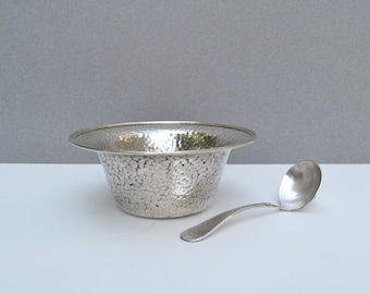 Vintage Hand Hammered Nickel Silver Bowl with Spoon Silver Plated Taber & Tibbits