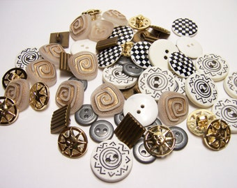 60 Assorted Metal and Plastic Buttons - Swirl, Sun Face, Round and Square Designs for Sewing & Crafting