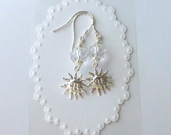 Sun Celestreal Earrings With Swarovski Crystals And Sterling Silver