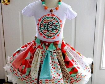 girls arrow birthday outfit girls mint peach coral gold outfit monogrammed clothing skirt set fall clothing family pictures for little girl