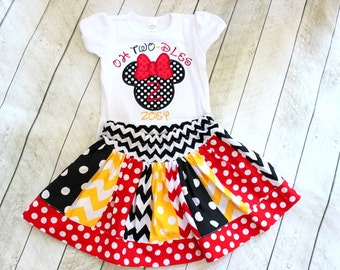 Minnie mouse Birthday outfit Oh twodles mickey mouse outfit 2nd birthday minnie mouse outfit red black yellow skirt chevron polka dot