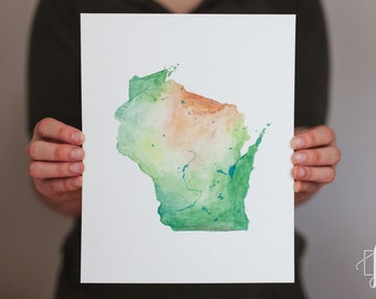 Wisconsin Watercolor State Map