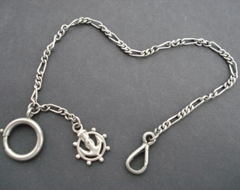 Antique french silvered art deco pocket watch chain with fob breloque. (  5 )