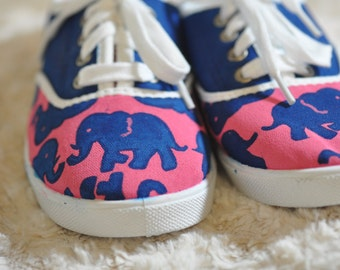 Lilly Pulitzer Inspired Hand Painted Canvas Shoes: Tuskin Sun Elephants