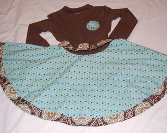 Upcycled Brown and Teal Twirly Dress